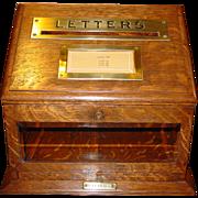 Wonderful quartered oak Letter or Postal box---desk top---