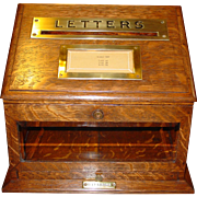 Wonderful quartered oak Letter or Postal box---desk top---