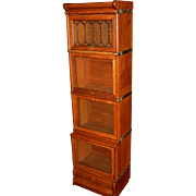 Quartered quarter sawn oak half size barrister bookcase--leaded glass door