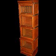 Quartered quarter sawn oak half size barrister bookcase--leaded glass door