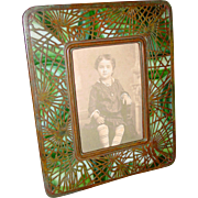 Pretty Tiffany Studios photo frame-Pine Needle pattern---round corners