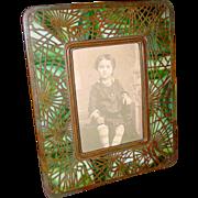Pretty Tiffany Studios photo frame-Pine Needle pattern---round corners