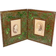 Tiffany Studios double bifold photo picture frame grapevine pattern