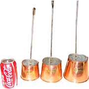 3 graduated copper cider measure cups---English