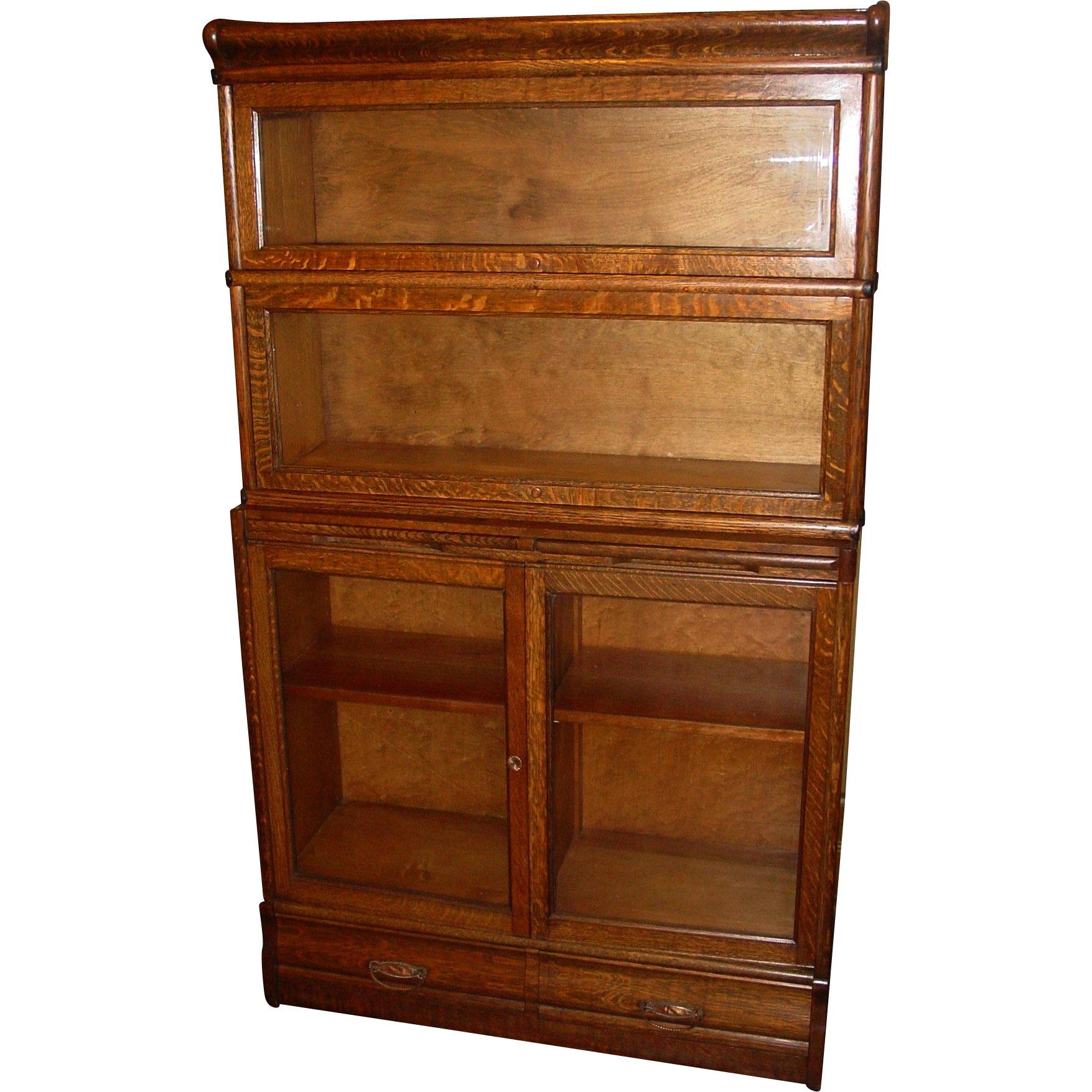 Unusual quartered oak barrister style bookcase-2 style doors w pullout and dwrs