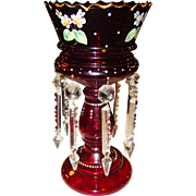 Pretty cranberry glass Victorian luster lustre with prisms hand painted