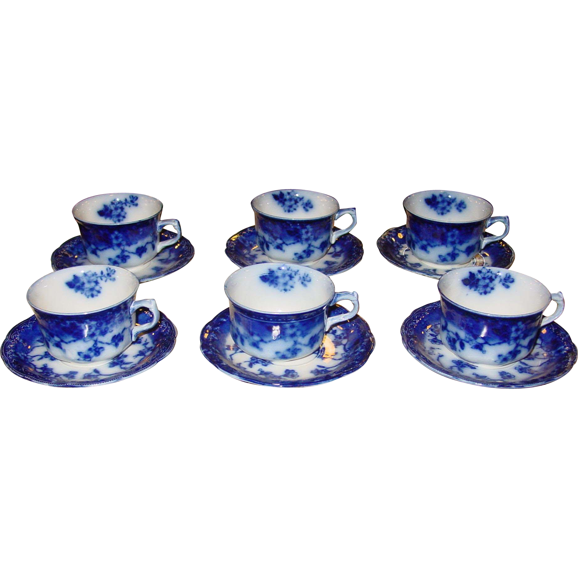 Set of 6 Flow Blue cups and saucers-Brunswick
