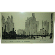 Original etching Samuel Chamberlain Drizzly Morning in Chicago    signed