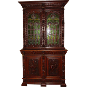 Fine stained glass French hand carved bookcase