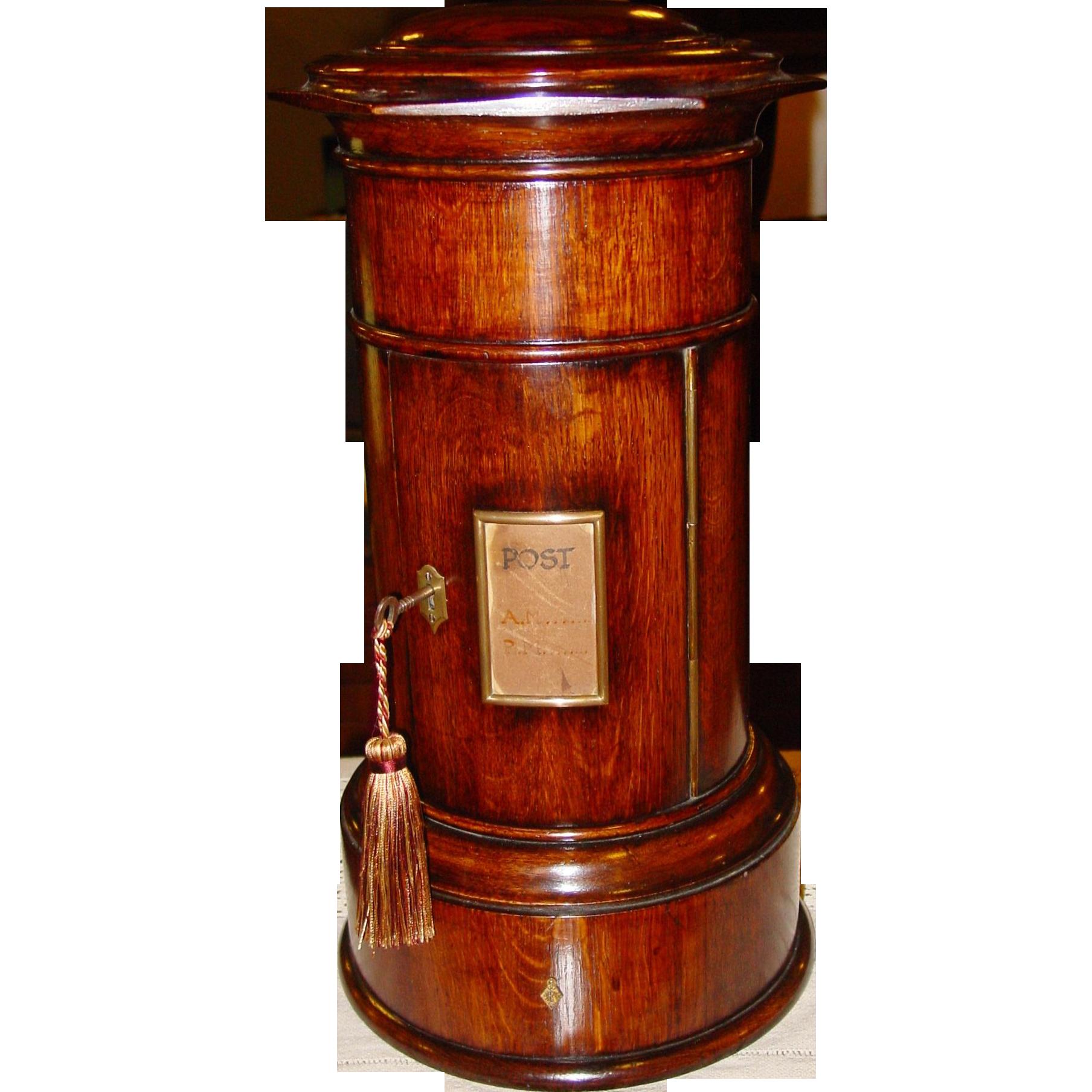 Exceptional Quartered oak cylinder style postal letter box