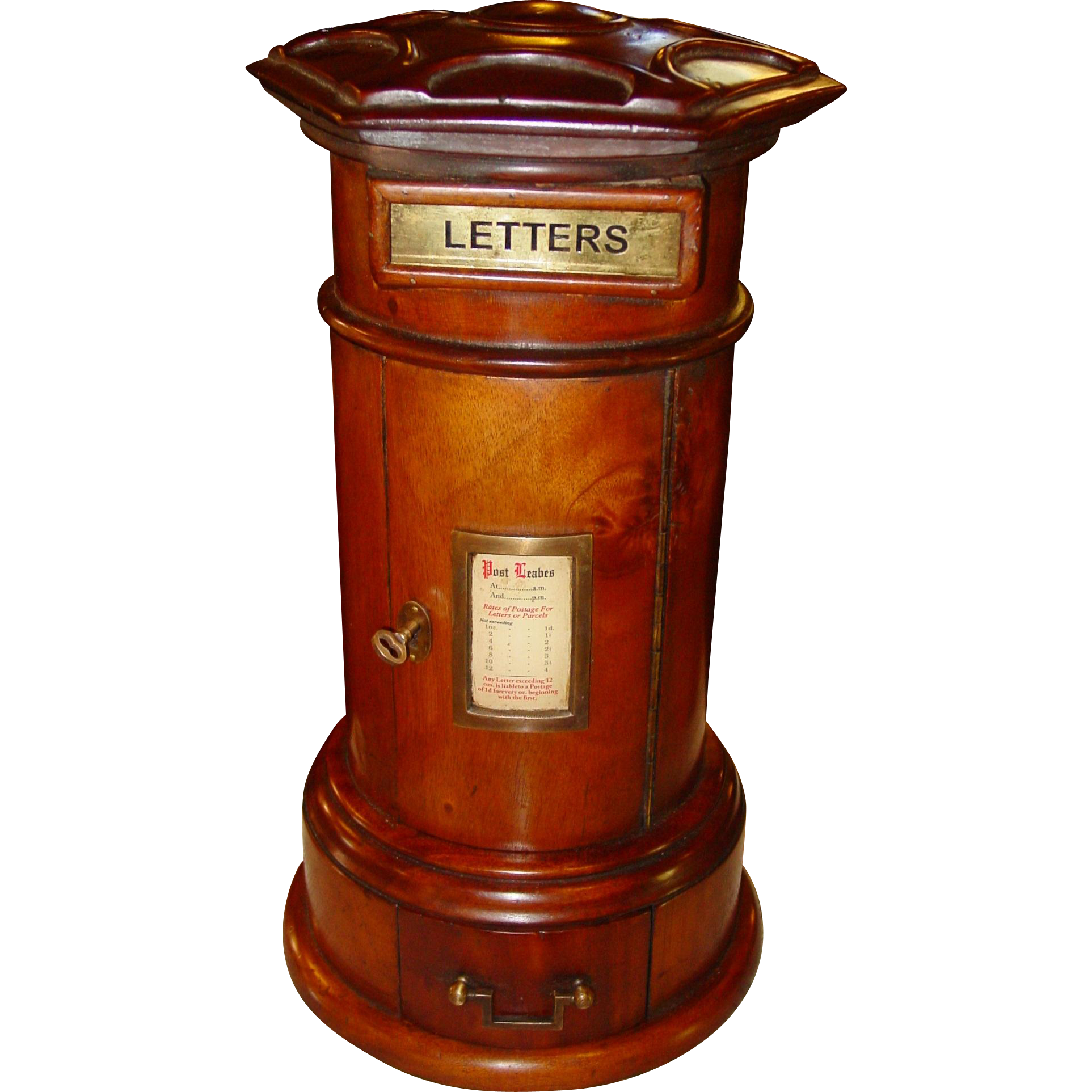 Neat English cilinder postal or letter box-desk piece