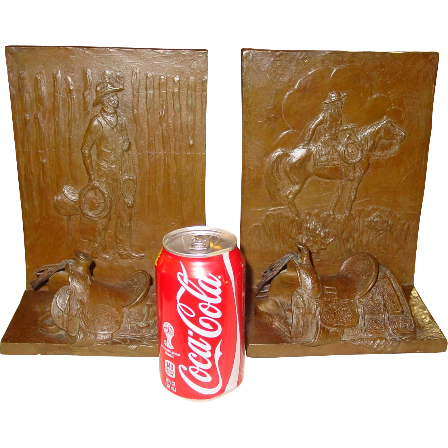 Large bronze bookends  Cowboys   Mehl Lawson