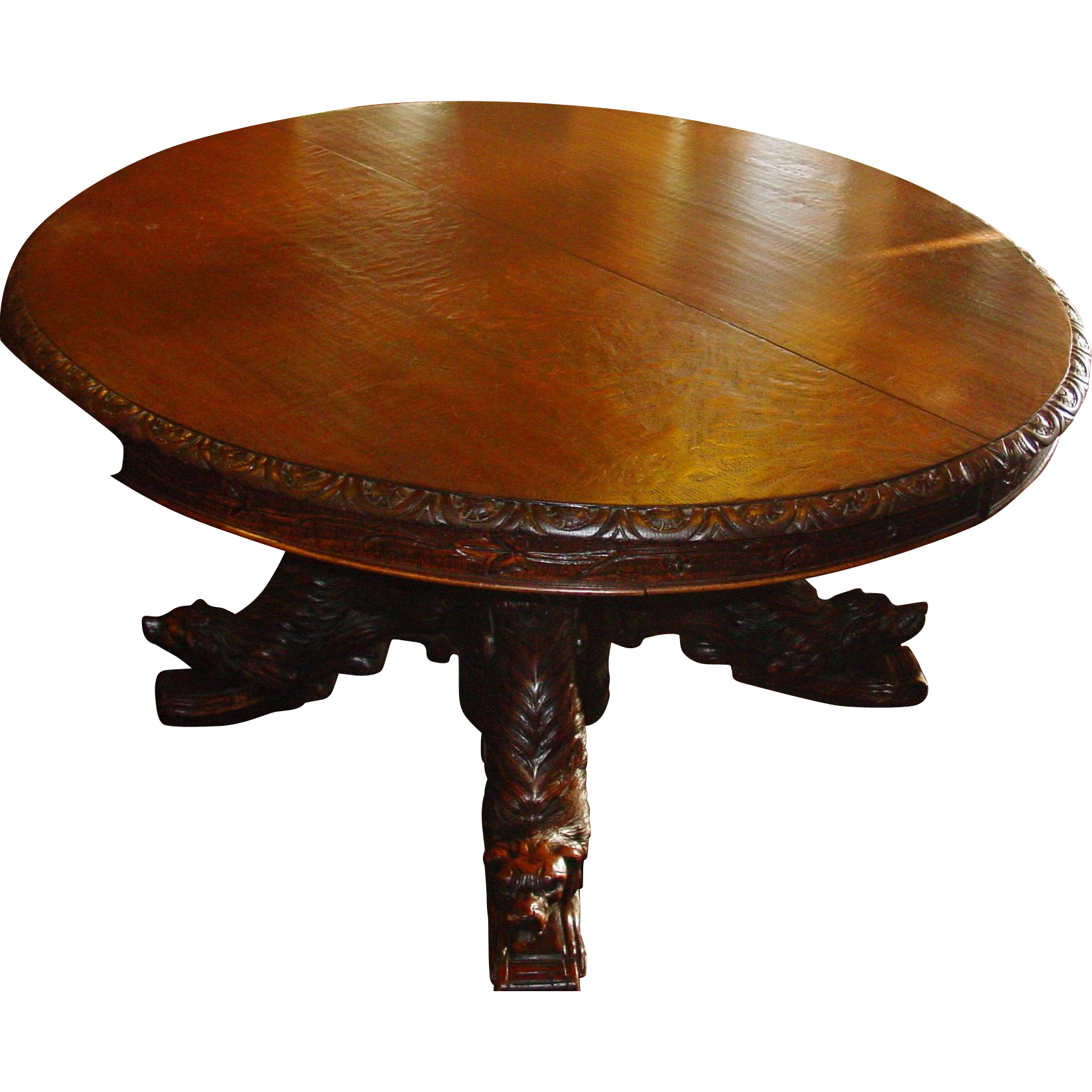 Oak French carved dog table with carved dog heads and bodies