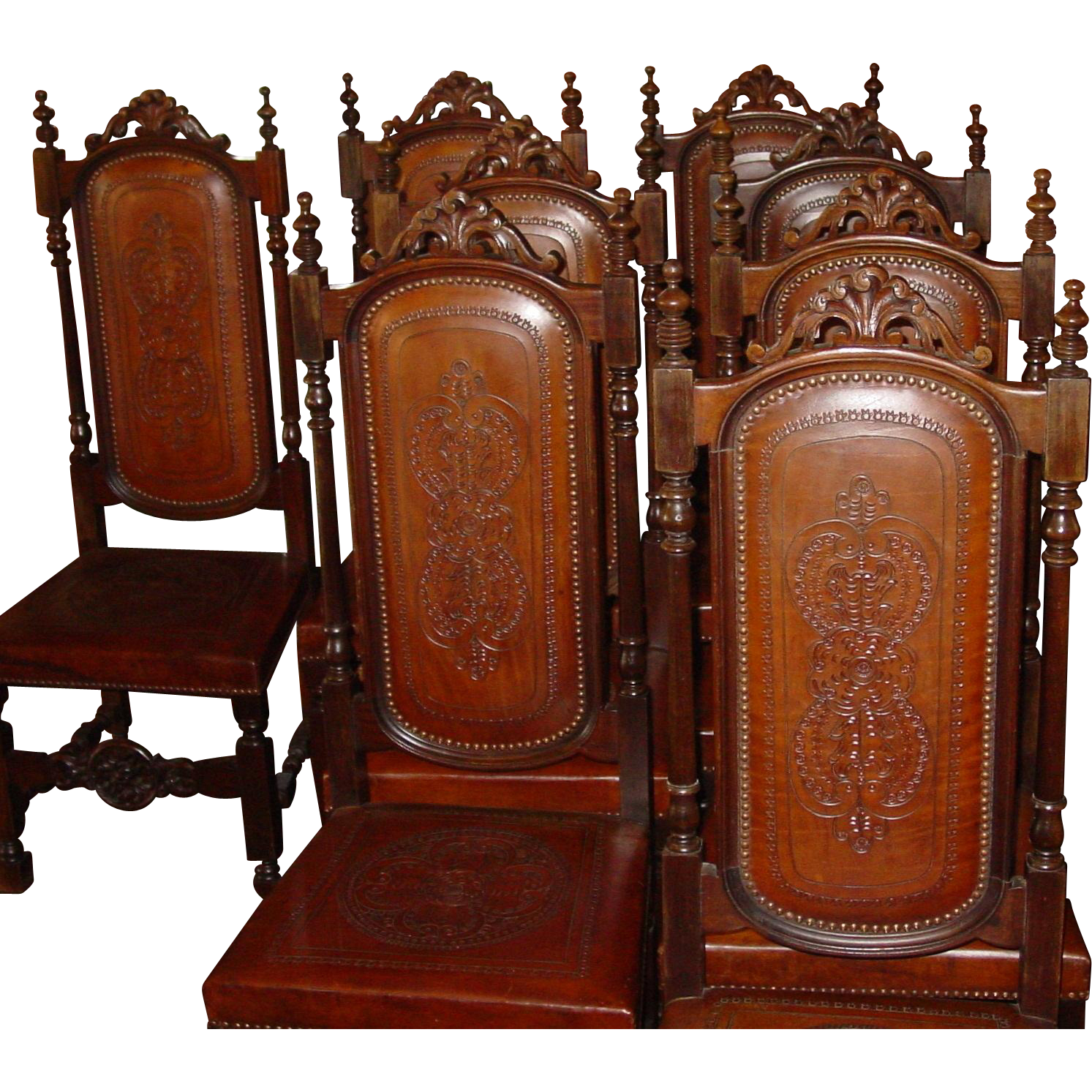 Matched set 8 French leather chairs---dining room----15348