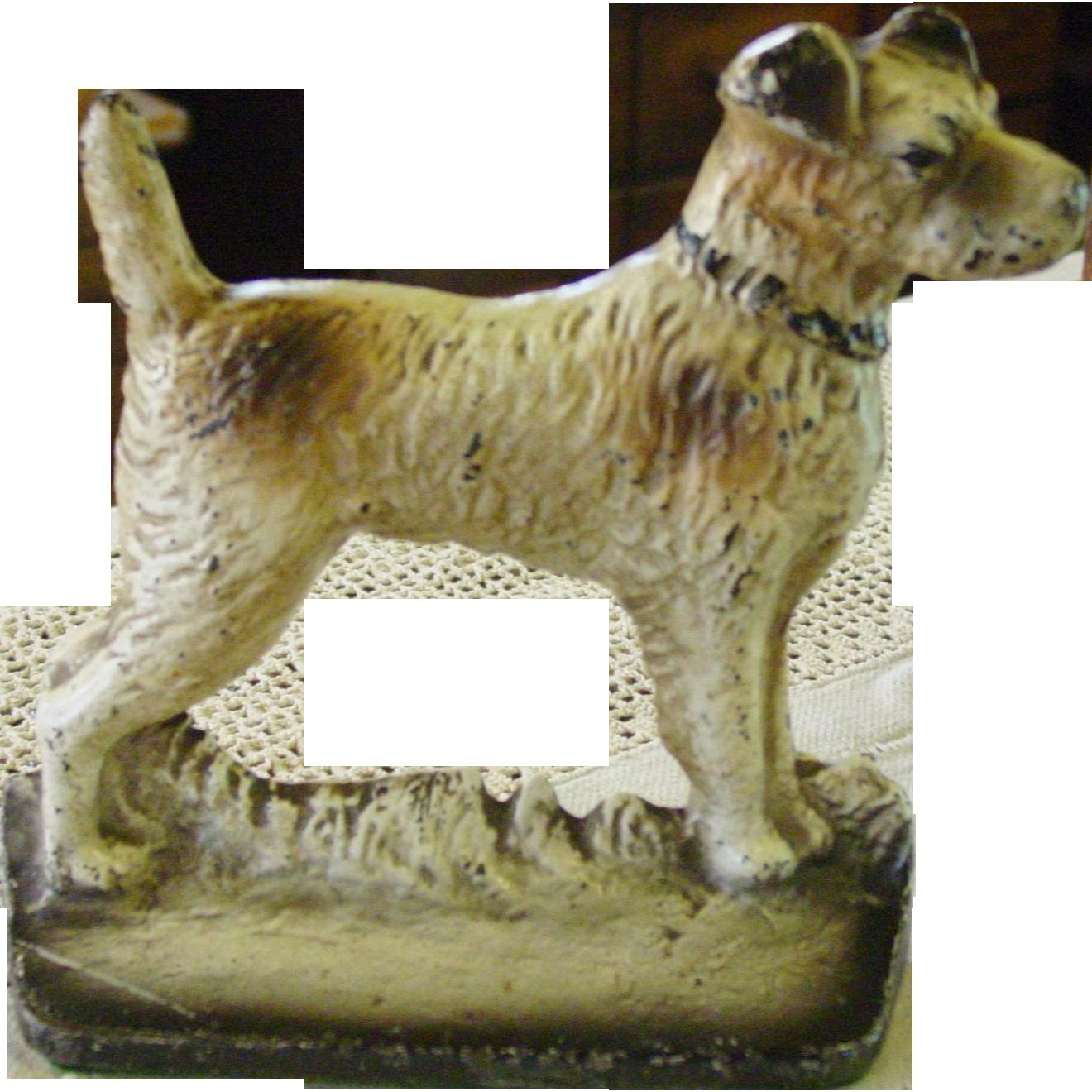 Cast iron fox terrier dog doorstop