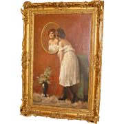 Oil on canvas -  Beauty admiring in mirror-Attilio Toro--1st half 20th c