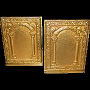 Tiffany Studios bronze bookends-Peacock Portal