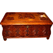 Great carved oak wood box with false floor