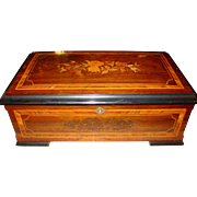 6 tune marquetry Swiss music box