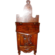 Early carved antique wood French salt box