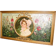 Antique Oil on canvas Frederick Church 'Hollyhocks'--original artists frame
