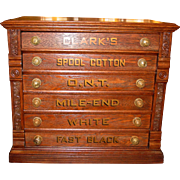 Unusual 6 drawer Clark spool thread cabinet