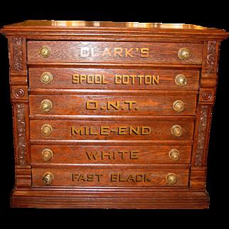Unusual 6 drawer Clark spool thread cabinet