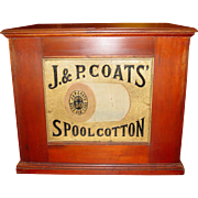J & P Coats 6 drawer spool thread cabinet embossed back