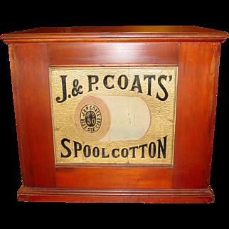 J & P Coats 6 drawer spool thread cabinet embossed back