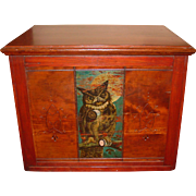 Fine Willimantic 6 drawer spool thread cabinet w owl motif