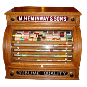 Neat 'cash register' style Heminway spool thread cabinet with cylinder door
