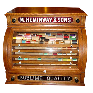 Neat 'cash register' style Heminway spool thread cabinet with cylinder door