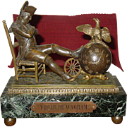 Fine antique bronze & marble mantle clock-Napoleon at Wagram