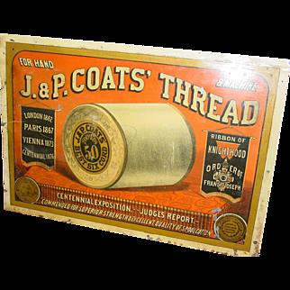 19th c J & P Coats spool thread cabinet advertising sign