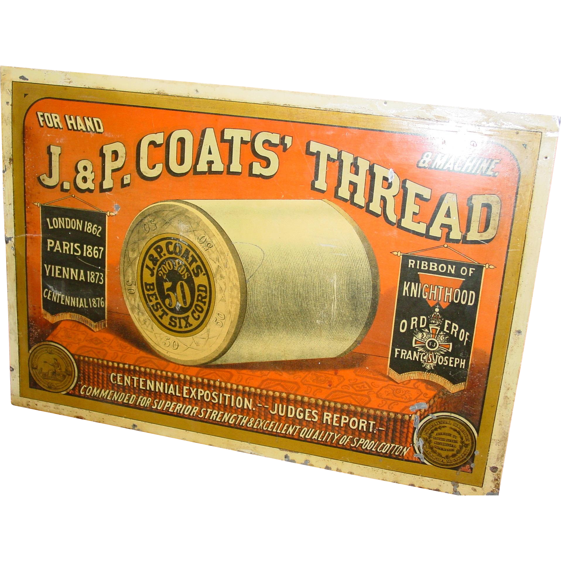 19th c J & P Coats spool thread cabinet advertising sign