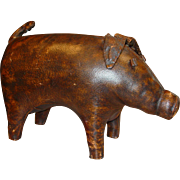Cool Abercrombie & Fitch leather pig footstool