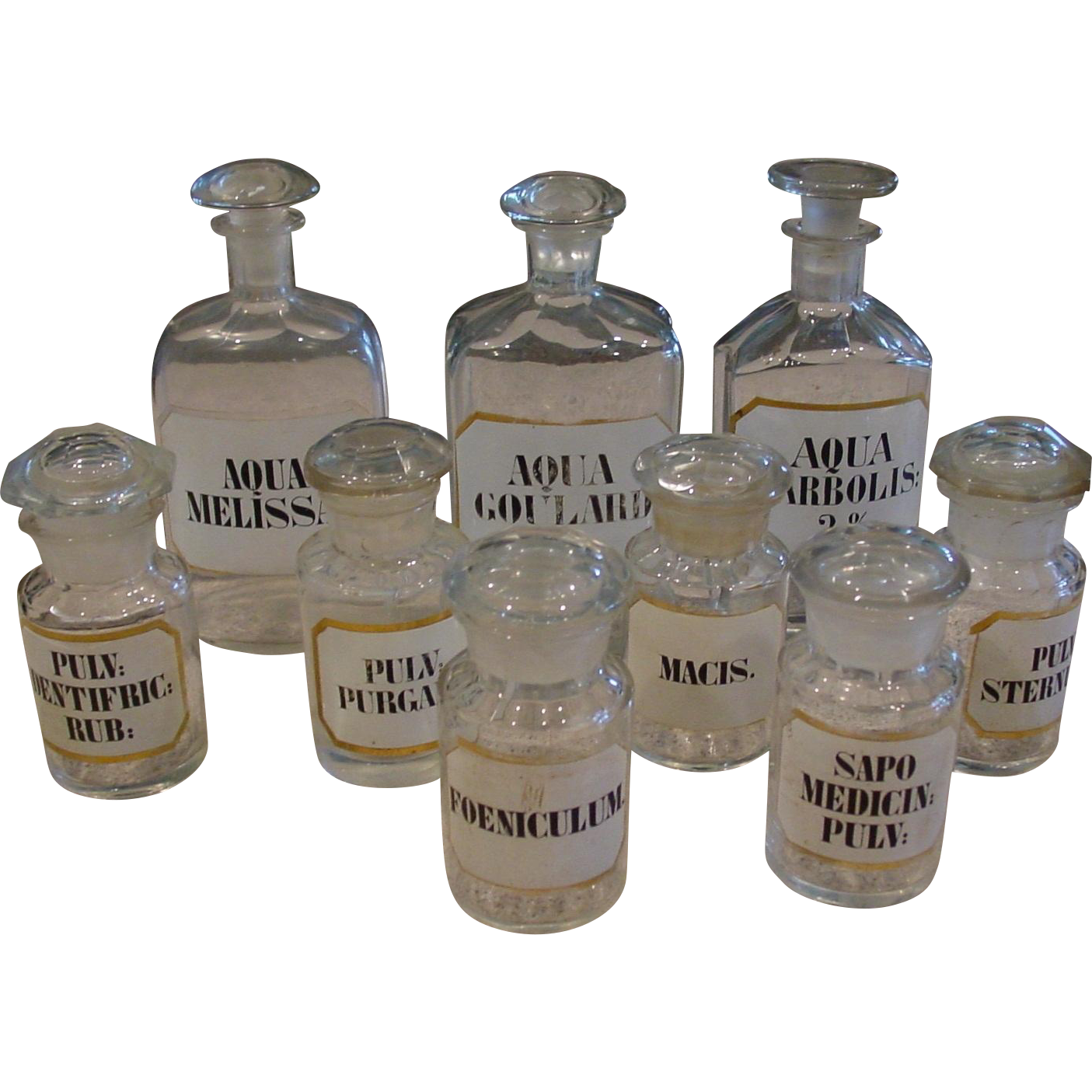 9 vintage drug Apothecary bottles