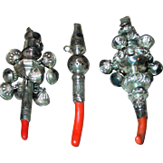 Three Victorian baby rattles-bells-whistle-coral