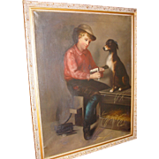 Charming Victorian Oil on Canvas boy and his dog