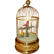 Large size 2 singing bird in cage automaton-French