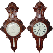 Monumental pair antique French wall clock and barometer--each over 4 feet tall!!!