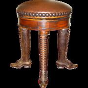 Unusual antique walnut & brass organ/piano stool