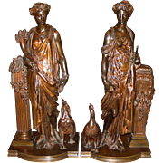 Matched pair antique bronze statues--Auguste Joseph Peiffer---Juno and Ceres