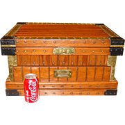 Neat small size antique travel chest trunk--lift lid and drawer