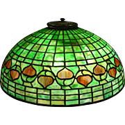 Antique Tiffany Studios Acorn leaded glass parlor table lamp