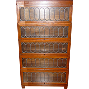 Antique 5 stack Quartered oak barrister bookcase leaded glass