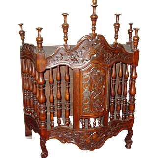 Unusual French carved panetiere with bowed door end table cabinet pedestal