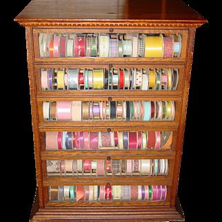 Quarter sawn Quartered oak floor model ribbon wine case