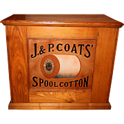 J & P Coats OAK spool thread cabinet-embossed spool back
