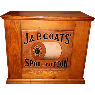 J & P Coats OAK spool thread cabinet-embossed spool back